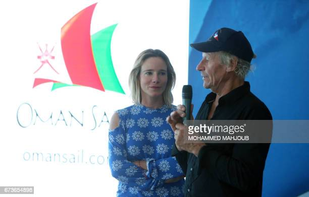 French skipper Philippe Poupon and his wife Geraldine Danon speak during a press conference in the capital Muscat on April 26 2017 Poupon a 62yearold...