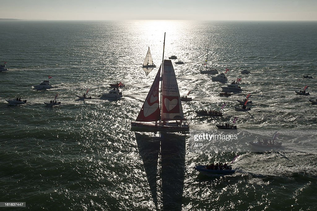 French skipper Tanguy de Lamotte arrives aboard his monohull 'Initiatives Coeur' as he finished tenth in the 7th edition of the Vendee Globe solo...