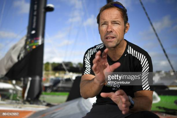 French skipper Thomas Coville answers journalist's questions on the 'Sodebo' Ultim multihull after a training session off the coast of La...