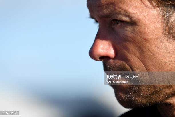 French skipper Thomas Coville looks on after arriving at the port of La TriniteSurMer western France on July 16 a day after setting a new...