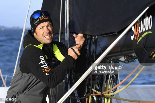 French skipper Thomas Coville sails aboard the 'Sodebo' Ultim multihull during a training session off the coast of La TrinitesurMer western France on...