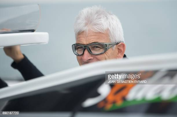 French skipper Vincent Riou sails aboard the multihull 'Sodebo Ultim' of Thomas Coville on May 30 2017 off La TrinitesurMer western France Coville...