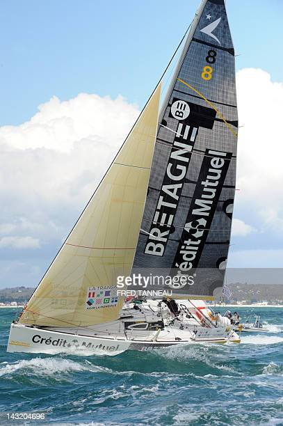 French skippers Anthony Marchand and Romain Attanasio take the start on their 'Bretagne Crédit Mutuel Performance' Monohull of the 11th edition of...