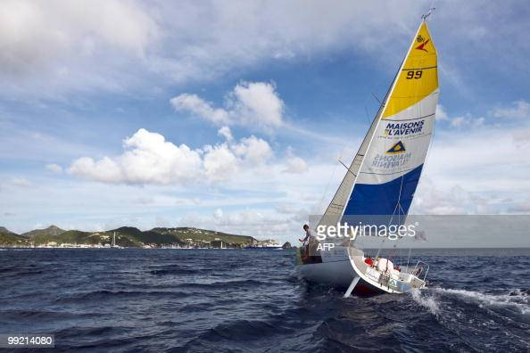 French skippers HenriPaul Schipman and Pierre Canevet sail on their 'Maisons de l'Avenir Urbatys' monohull upon their arrival at the end of the...