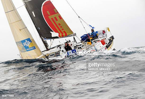 French skippers Ronan Treussart and Anthony Marchand sail off the Portugal's coast on their 'Celeos' monohull on April 23 during the AG2R sailing...
