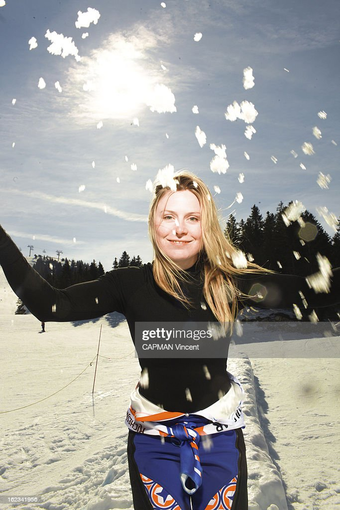 French slalom world champion <a gi-track='captionPersonalityLinkClicked' href=/galleries/search?phrase=Tessa+Worley&family=editorial&specificpeople=855344 ng-click='$event.stopPropagation()'>Tessa Worley</a> poses for a portrait on February 27,2012 in Lelex, France.