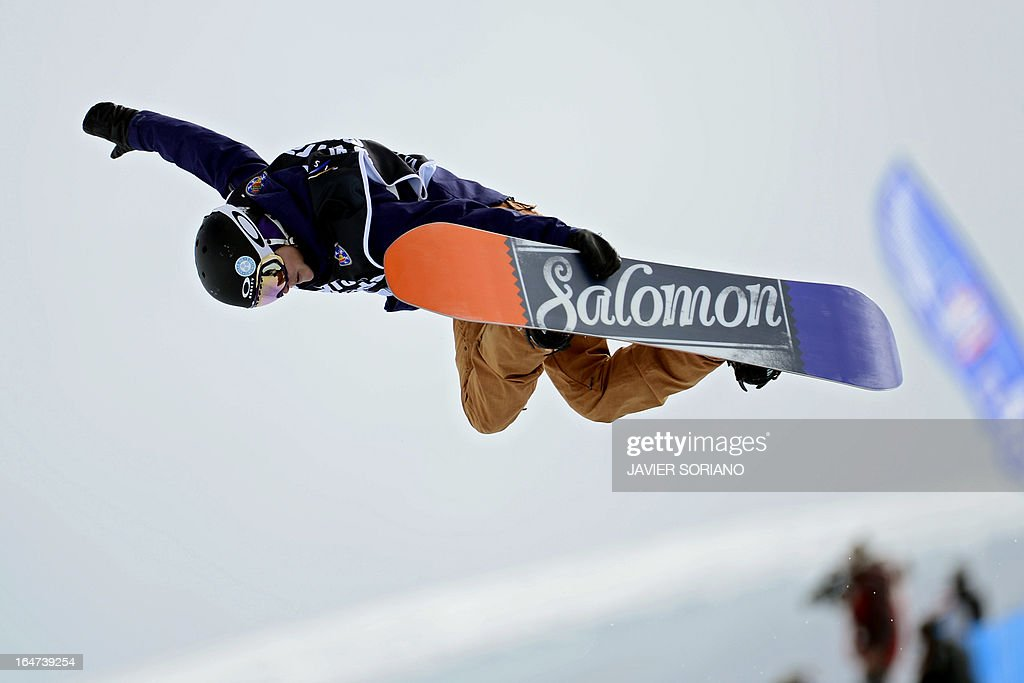 French snowboarder Sophie Rodriguez competes in the Ladies' Snowboard Half-Pipe final race at the Snowboard and FreeStyle World Cup Super finals at Sierra Nevada ski resort near Granada on March 27, 2013. Sophie Rodriguez won the race.