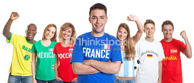 126e222533f French soccer fan with crossed arms and fans from other countries   Stock  Photo