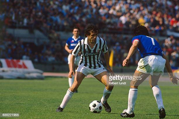 French soccer legend Michel Platini in action during a Serie A match with the Juventus Turin