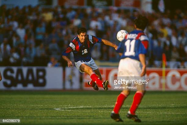 French soccer player Eric Cantona in action during France vs Denmark in the UEFA Euro 1992 Denmark won 21