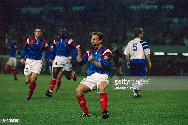 French soccer player JeanPierre Papin celebrates scoring a goal at the qualifying match for the 1994 FIFA World Cup France vs Finland France won 21