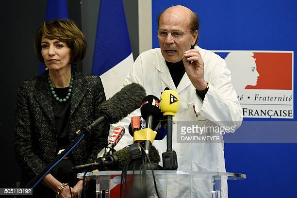 French Social Affairs and Health minister Marisol Touraine and professor Gilles Edan head of the neuroscience unit give a press conference on January...