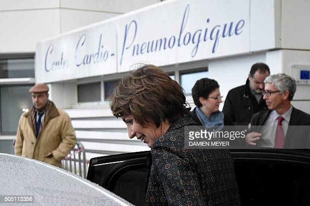 French Social Affairs and Health minister Marisol Touraine leaves after a press conference on January 15 2016 at the Pontchaillou Hospital in Rennes...