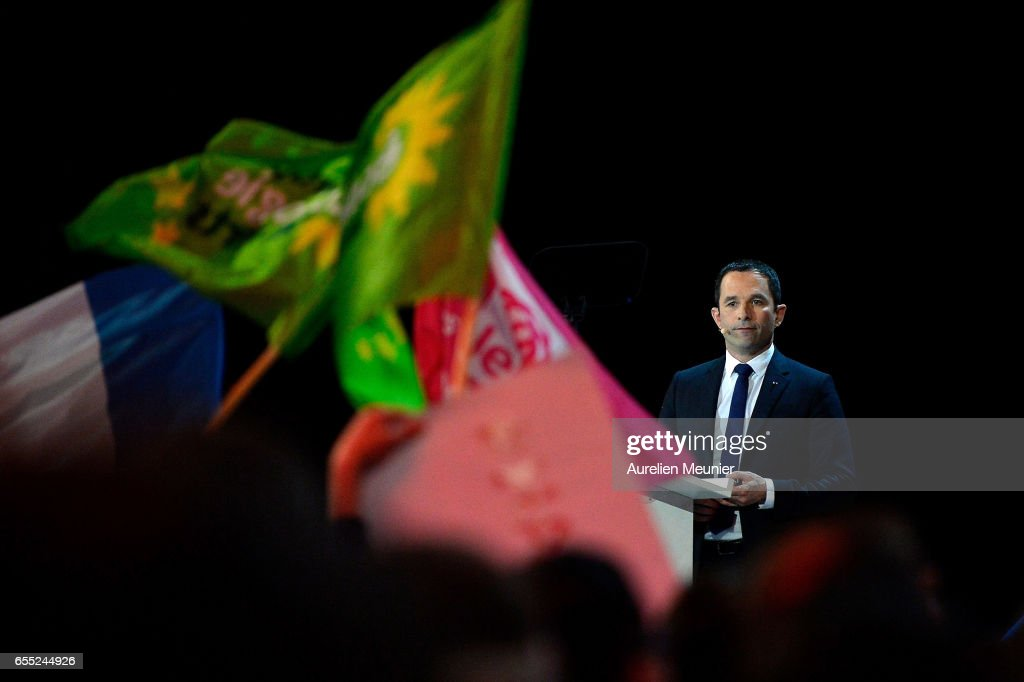 French Presidential Candidate Benoit Hamon Holds A Rally Meeting In Paris