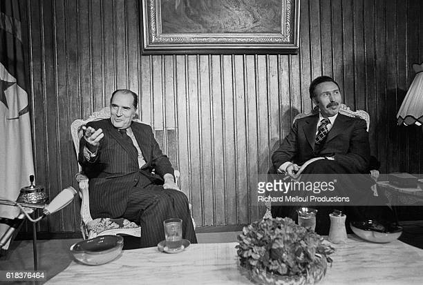 French Socialist leader Francois Mitterrand meets with Algerian president Houari Boumedienne to discuss the issue of Western Sahara's sovereignty In...