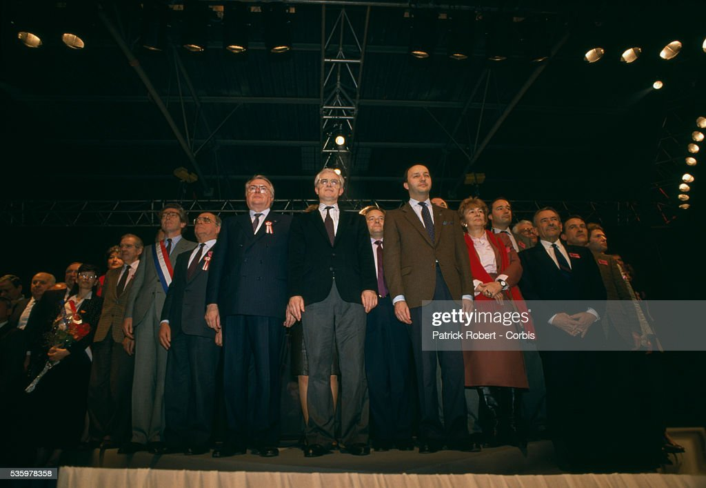 French Socialist leaders attend a Parti Socialiste meeting. Elected socialist members of the Parti Socialiste gathered in Le Bourget, including (L-R) Pierre Joxe, Pierre Beregovoy, Pierre Mauroy, Lionel Jospin, and Laurent Fabius. French Minster of Defense Charles Hernu was also in attendence.