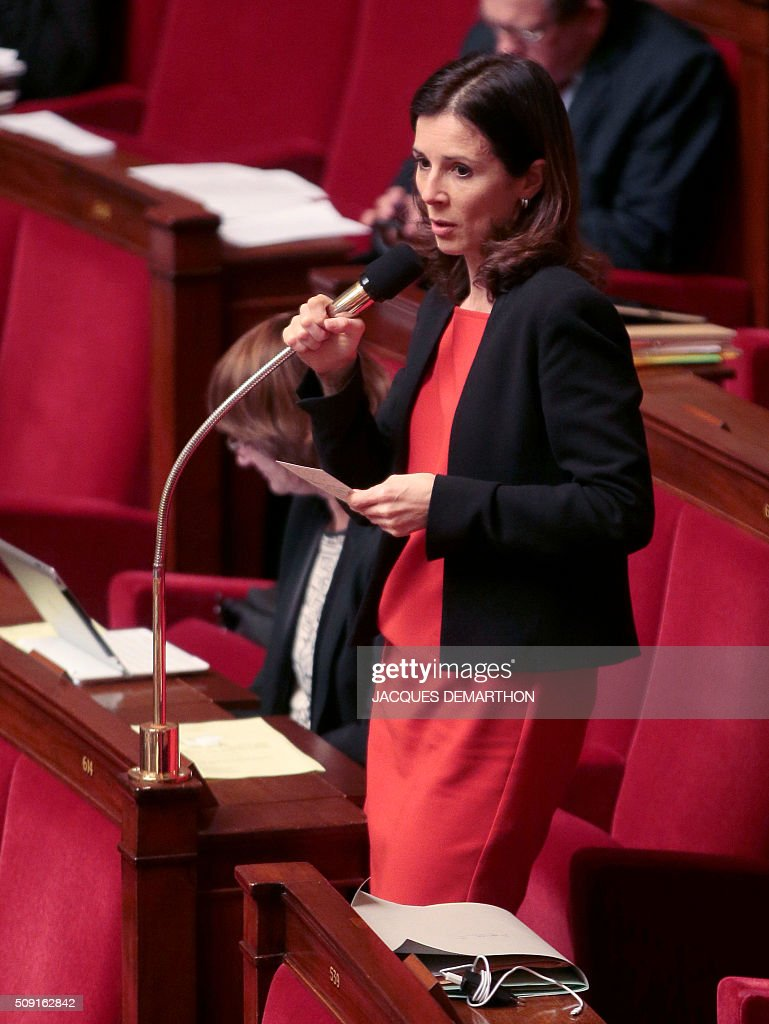 French Socialist MP Barbara Romagnan speaks at the French National Assembly in Paris on February 9, 2016, as French lawmakers examined proposed changes to the constitution. France's lower house of parliament is to vote on plans to enshrine a state of emergency into the constitution, including a controversial measure to strip French nationality from those convicted of terrorism and serious crimes. / AFP / JACQUES DEMARTHON