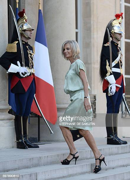 French Socialist MP Elisabeth Guigou arrives to attend French President's speech to ambassadors on August 30 2016 at the Elysee Presidential Palace...