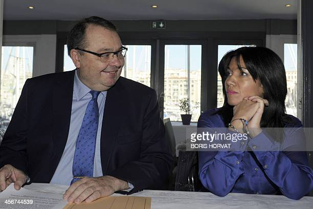French Socialist Party deputy and candidate for the 2014 mayoral election in Marseille Patrick Mennucci next to unsuccessful candidate for the...