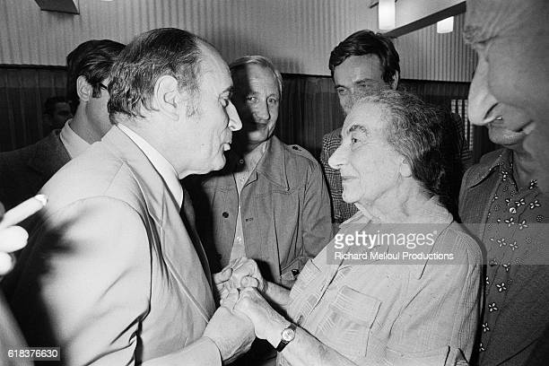 French Socialist Party First Secretary Francois Mitterand meets Israeli Prime Minister Golda Meir on Mitterand's birthday The meeting took place...