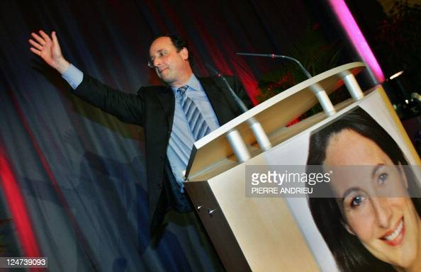 French socialist party first secretary François Hollande delivers a speech during a support meeting to French socialist presidential candidate...