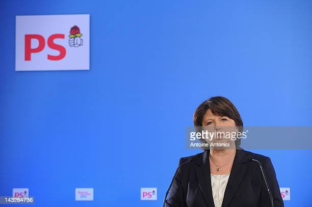 French Socialist Party first secretary Martine Aubry speaks after the results of the first round of the 2012 French Presidential election at the...