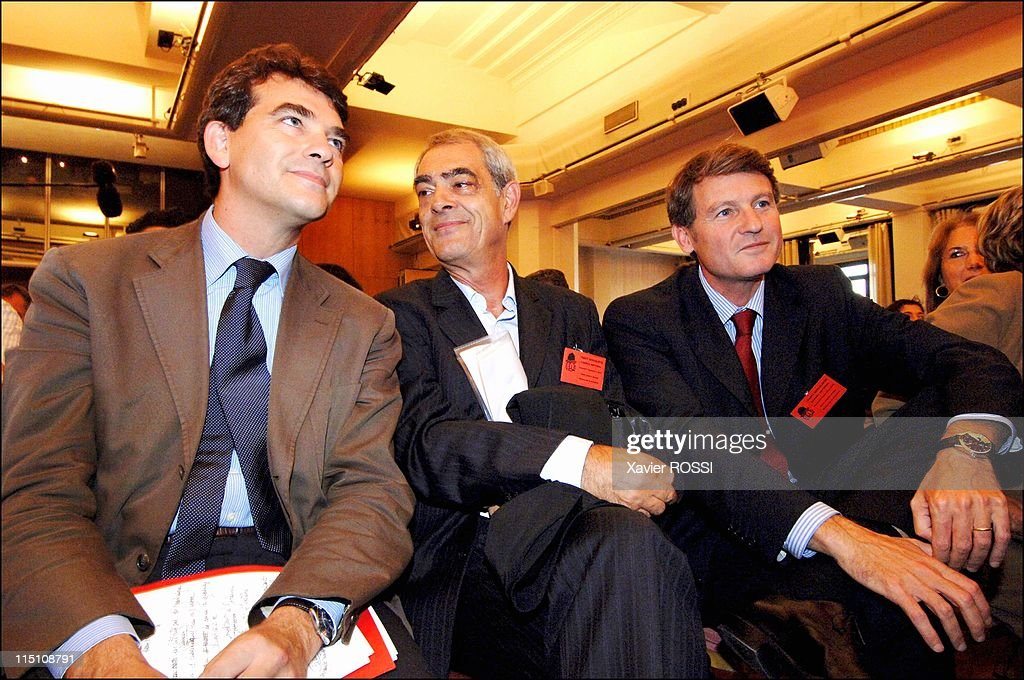 French Socialist Party holds National Council at La Mutualite in Paris, France on September 17, 2005 - Arnaud de Montebourg, <a gi-track='captionPersonalityLinkClicked' href=/galleries/search?phrase=Henri+Emmanuelli&family=editorial&specificpeople=554955 ng-click='$event.stopPropagation()'>Henri Emmanuelli</a> et <a gi-track='captionPersonalityLinkClicked' href=/galleries/search?phrase=Vincent+Peillon&family=editorial&specificpeople=2150233 ng-click='$event.stopPropagation()'>Vincent Peillon</a>.