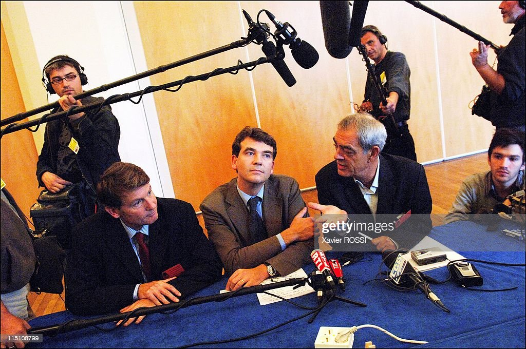 French Socialist Party holds National Council at La Mutualite in Paris, France on September 17, 2005 - <a gi-track='captionPersonalityLinkClicked' href=/galleries/search?phrase=Vincent+Peillon&family=editorial&specificpeople=2150233 ng-click='$event.stopPropagation()'>Vincent Peillon</a>, Arnaud de Montebourg and <a gi-track='captionPersonalityLinkClicked' href=/galleries/search?phrase=Henri+Emmanuelli&family=editorial&specificpeople=554955 ng-click='$event.stopPropagation()'>Henri Emmanuelli</a>.
