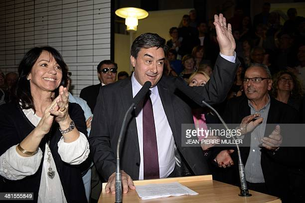 French socialist Party incumbent mayor of VilleneuvesurLot Patrick Cassany delivers a speech after winning the vote on the day of the second round of...