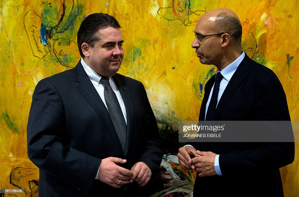 French Socialist Party (PS) national secretary Harlem Desir (R) talks with Chairman of German social democratic party SPD Sigmar Gabriel on February 14, 2013 in Berlin.
