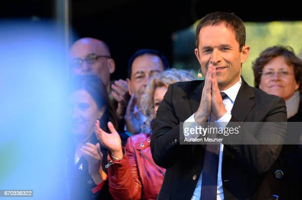 French Socialist Party Presidential candidate Benoit Hamon addresses voters during a political meeting Place de la Republique on April 19 2017 in...