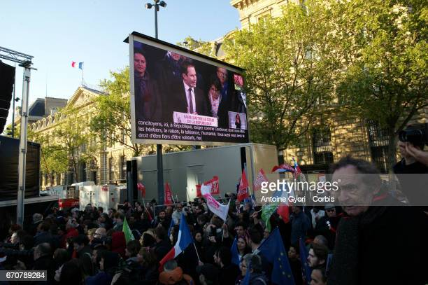 French Socialist Party Presidential candidate Benoit Hamon addresses voters during a political meeting Place de la Republique on April 19 2017 in...