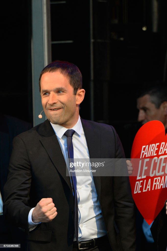 French Presidential Candidate Benoit Hamon Holds A Rally Meeting At Place de La Republique In Paris