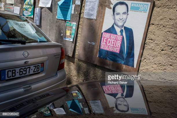 French Socialist party presidential candidate Benoît Hamon poster on 26th May in Termes LanguedocRousillon south of France