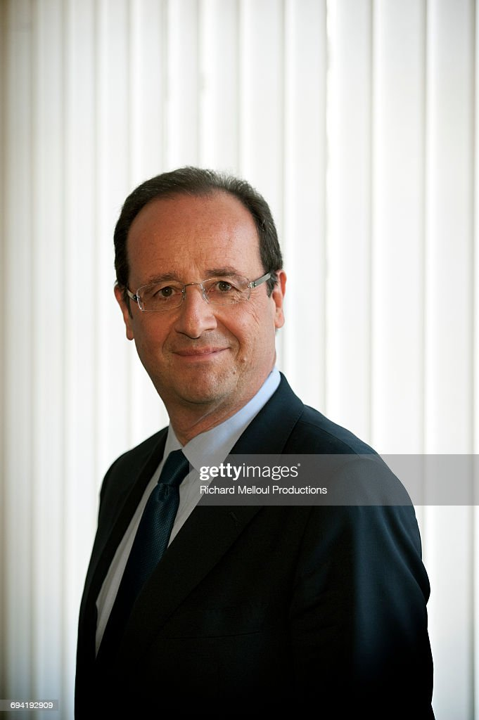 French Socialist Party presidential candidate François Hollande at his headquarters during the presidential campaign, Paris, 30th March 2012.