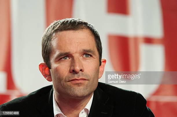 French Socialist Party spokeperson Benoit Hamon attends day 2 of La Fete de l'Humanite on September 17 2011 at La Courneuve France La Fete de...