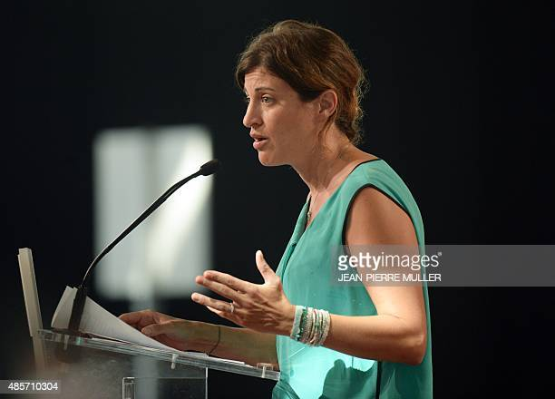 French Socialist party spokeswoman Juliette Meadel delivers a speech during the French Socialist Party summer congress on August 29 2015 in La...