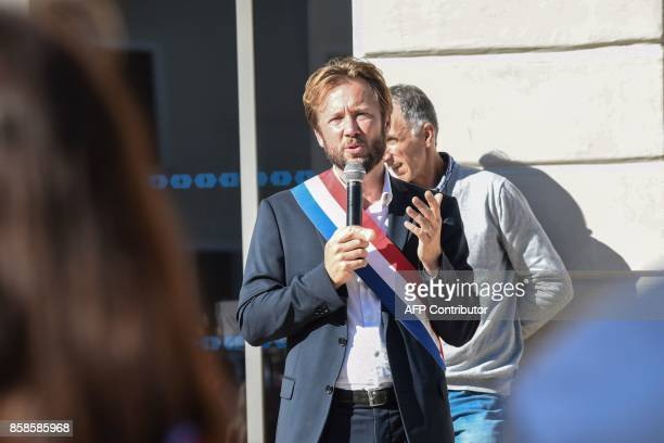 French Socialist party's MP Boris Vallau speaks during a protest of elected representatives palmiped and poultry breeders agricultural unions Small...