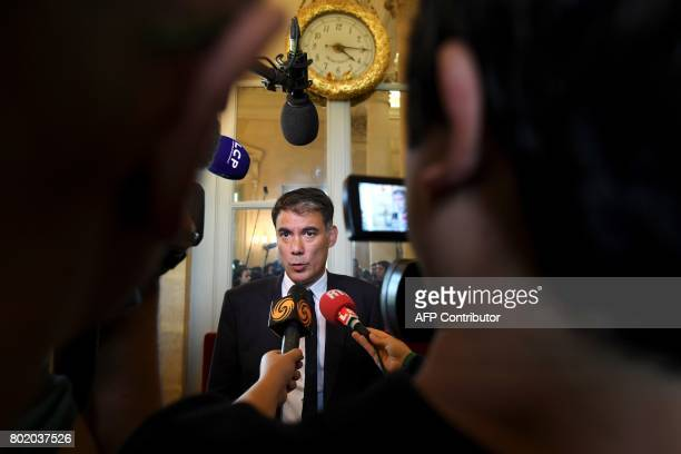 French Socialist Party's newly reelected spokesperson and MP Olivier Faure speaks to the press during the inaugural session of the 15th legislature...