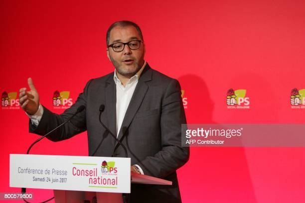 French Socialist Party's spokesman Rachid Temal speaks during a press conference following the party's national council behind closed doors on June...