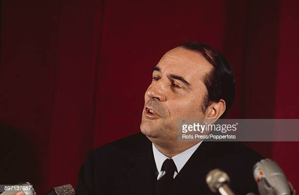 French socialist politician and leader of the Federation of the Democratic and Socialist Left Francois Mitterrand pictured at a press conference to...