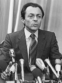 French socialist politician Michel Rocard speaking at a press conference as he announces himself as a candidate in the Presidential elections circa...