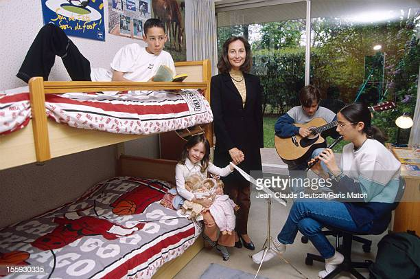 French socialist politician Segolene Royal is photographed at home with her four children Thomas Hollande aged 13 Clemence Hollande 11 Julien...