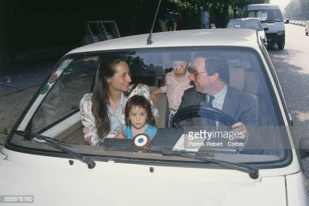 French socialist politicians Segolene Royal and husband Francois Hollande with their children Thomas and Clemence