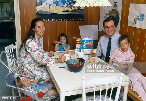 French socialist politicians Segolene Royal and husband Francois Hollande sit at the breakfast table with their three young children Thomas Clemence...