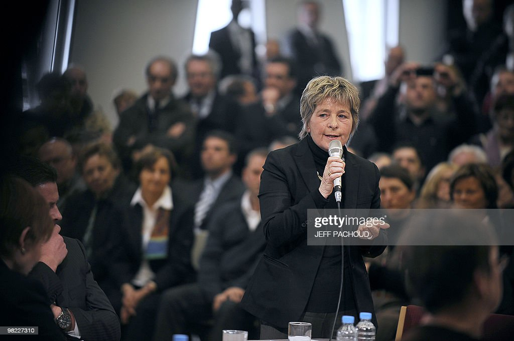 French socialist president of the Franche-Comte region Marie-Guite (Marie-Marguerite) Dufay delivers a speech on March 9, 2010 in Pontarlier, eastern France, during a visit of French President Nicolas Sarkozy (not pictured) dedicated to employment and professional training. AFP PHOTO / JEFF PACHOUD
