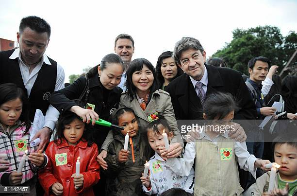 French socialist senator JeanLuc Melenchon and writer AnhDao Traxel foster daughter of French former President Jacques Chirac take part in ceremony...