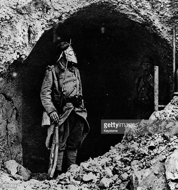French soldier at the Battle of Verdun wearing a gas mask