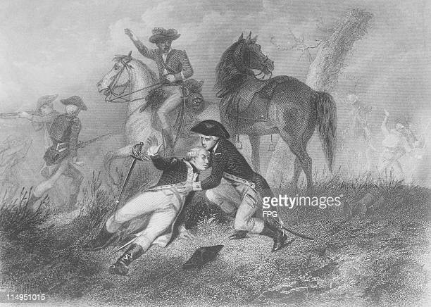 French soldier Gilbert du Motier marquis de Lafayette is wounded at the battle of Brandywine Pennsylvania during the American War of Independence...