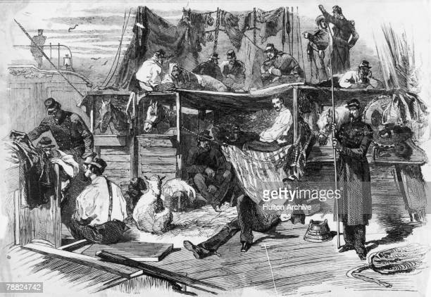 French soldiers and livestock on board the troop ship Carmel during the Crimean War June 1855 Original publication Illustrated Times pub 16th June1855